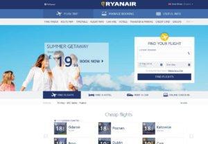 Ryanair - die neue überarbeitete Webseite. Bildquelle: Ryanair.com